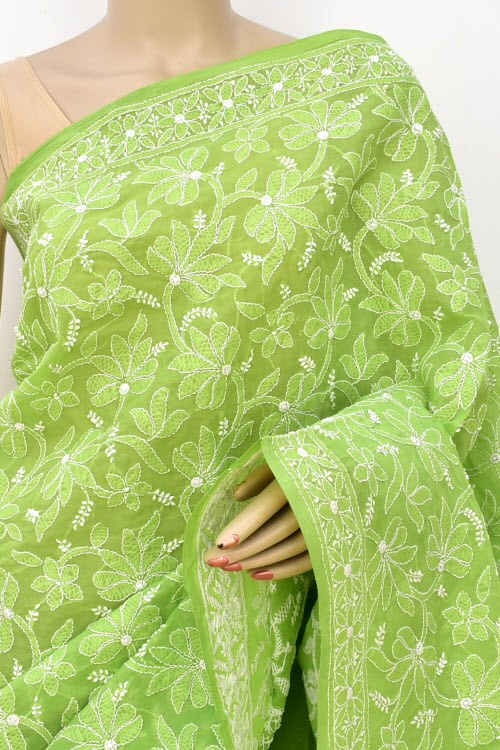 Pista Green Allover Hand Embroidered Lucknowi Chikankari Saree (With Blouse - Cotton) 14730