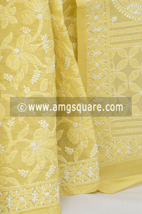 Beige Allover Hand Embroidered Lucknowi Chikankari Saree (With Blouse - Cotton) 14732