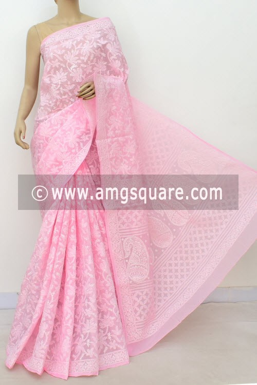 Pink Allover Hand Embroidered Lucknowi Chikankari Saree (With Blouse - Cotton) 14735