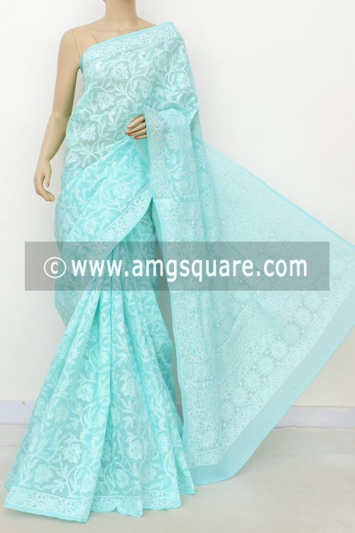 Light Sea Green Allover Hand Embroidered Lucknowi Chikankari Saree (With Blouse - Cotton) 14737