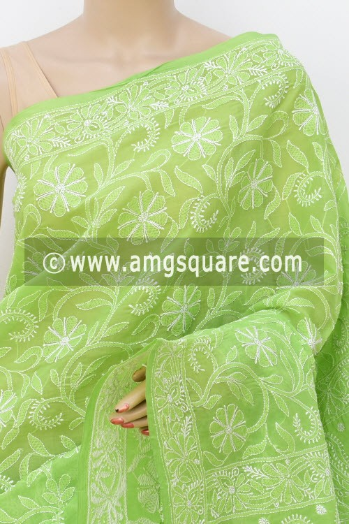 Green Allover Hand Embroidered Lucknowi Chikankari Saree (With Blouse - Cotton) 14740