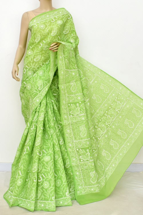 Green Allover Hand Embroidered Lucknowi Chikankari Saree (With Blouse - Cotton) 14742