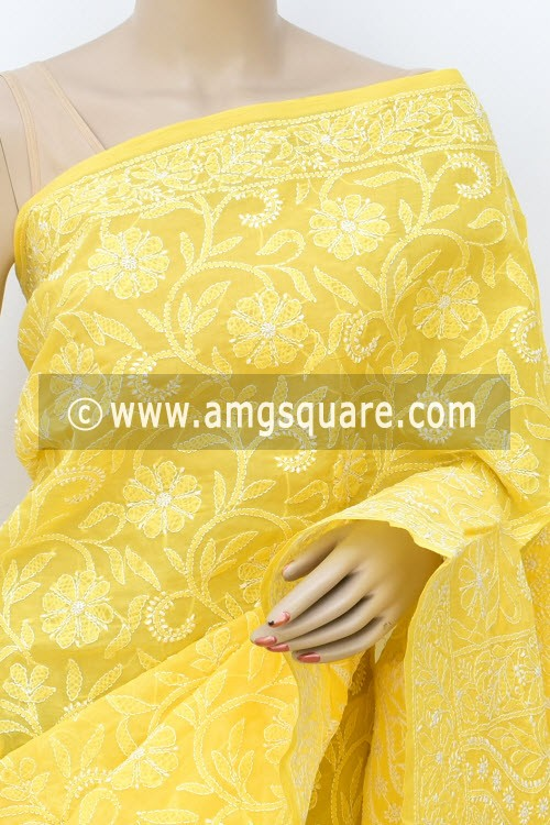 Yellow Allover Hand Embroidered Lucknowi Chikankari Saree (With Blouse - Cotton) 14744