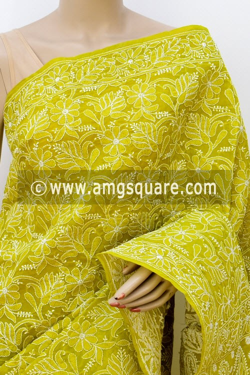 Menhdi Green Allover Hand Embroidered Lucknowi Chikankari Saree (With Blouse - Cotton) 14746
