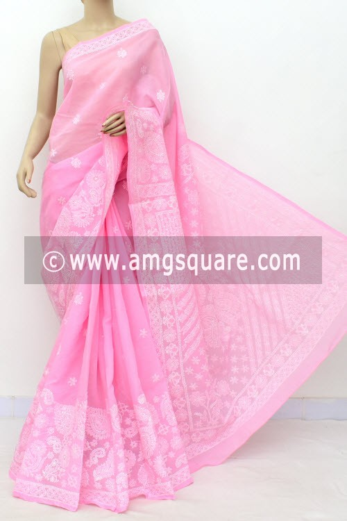 Pink Hand Embroidered Lucknowi Chikankari Saree (With Blouse - Cotton)  Heavy Skirt Border and Rich Pallu 14761