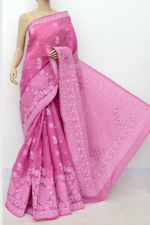 Onion Hand Embroidered Lucknowi Chikankari Saree (With Blouse - Cotton) Rich Border and Pallu 14766