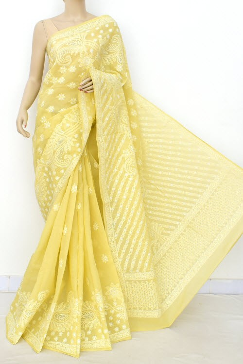 Light Ochre Yellow Hand Embroidered Lucknowi Chikankari Saree (With Blouse - Cotton)  Heavy Skirt Border and Rich Pallu 14771
