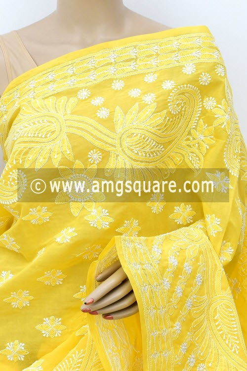Yellow Designer Hand Embroidered Lucknowi Chikankari Saree (With Blouse - Cotton) 14773