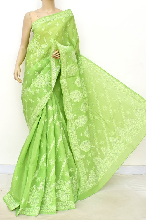 Menhdi Green Designer Hand Embroidered Lucknowi Chikankari Saree (With Blouse - Cotton) Rich Border and Pallu 14777