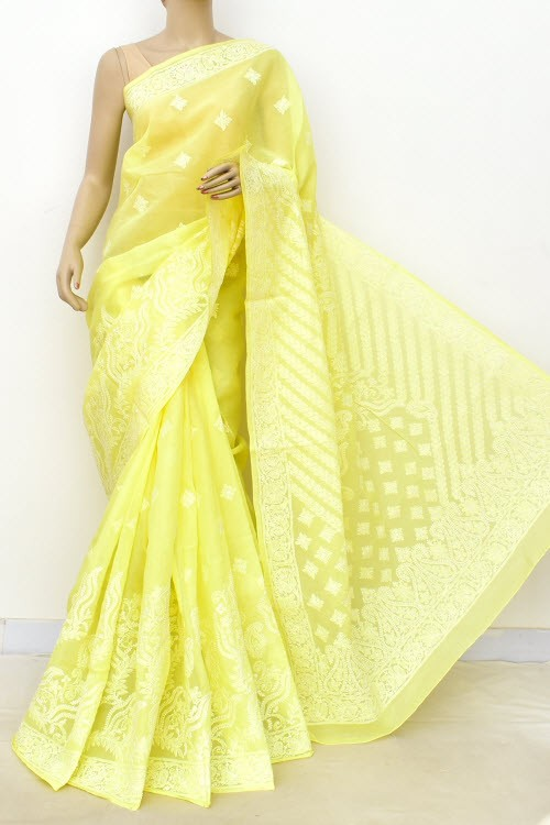 Lemon Yellow Designer Hand Embroidered Lucknowi Chikankari Saree (With Blouse - Cotton) Rich Border and Pallu 14778