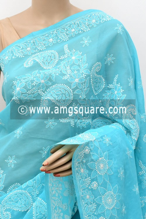Pherozi Blue Hand Embroidered Lucknowi Chikankari Saree (With Blouse - Cotton)  Heavy Skirt Border and Rich Pallu 14780