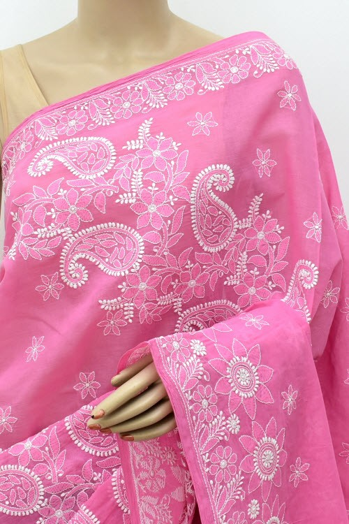Onion Hand Embroidered Lucknowi Chikankari Saree (With Blouse - Cotton)  Heavy Skirt Border and Rich Pallu 14782