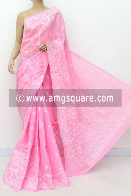 Pink Hand Embroidered Lucknowi Chikankari Saree (With Blouse - Cotton)  Heavy Skirt Border and Rich Pallu 14785