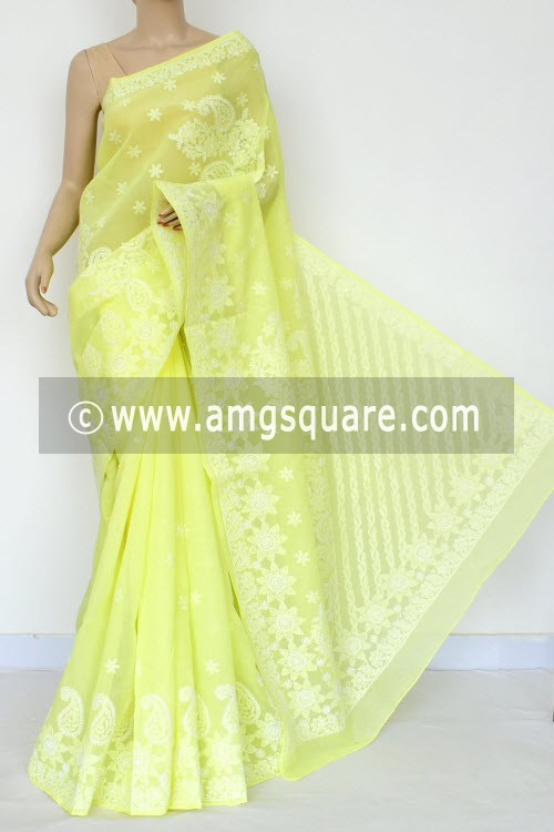 Lemon Yellow Exclusive Hand Embroidered Lucknowi Chikankari Saree (With Blouse - Cotton) 14786
