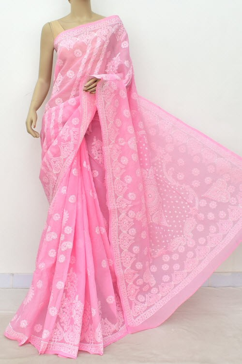 Pink Hand Embroidered Designer Lucknowi Chikankari Saree (With Blouse - Cotton)  Heavy Skirt Border and Rich Pallu 14787