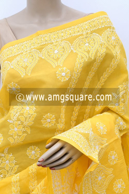 Turmeric Yellow Hand Embroidered Lucknowi Chikankari Saree (With Blouse - Cotton)  Heavy Skirt Border and Rich Pallu 14788