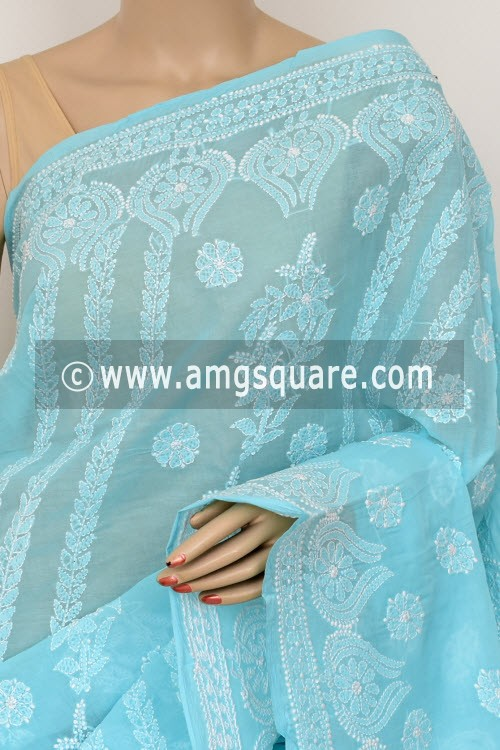 Sky Blue Exclusive Hand Embroidered Lucknowi Chikankari Saree (With Blouse - Cotton) 14789