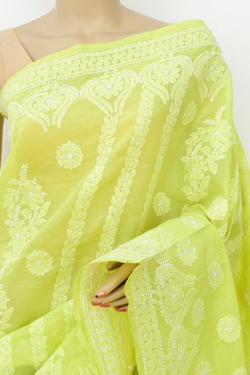 Menhdi Green Hand Embroidered Designer Lucknowi Chikankari Saree (With Blouse - Cotton)  Heavy Skirt Border and Rich Pallu 14790