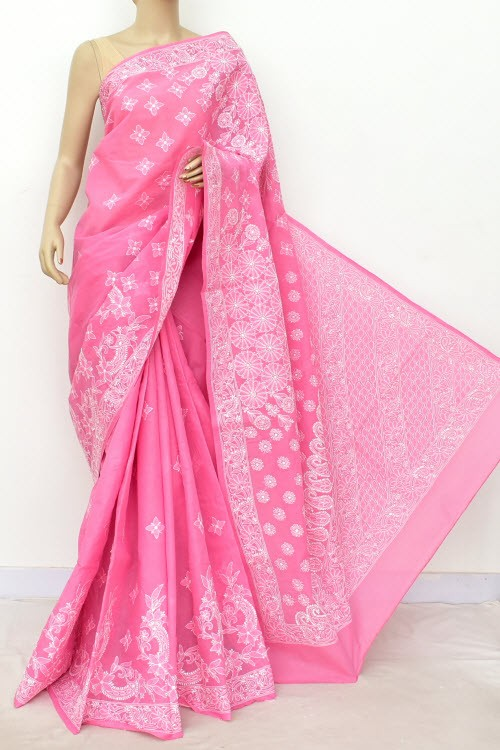 Onion Hand Embroidered Lucknowi Chikankari Saree (With Blouse - Cotton) Rich Border and Pallu 14793