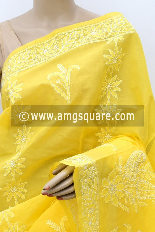 Yellow Hand Embroidered Lucknowi Chikankari Saree (With Blouse - Cotton)  Heavy Skirt Border and Rich Pallu 14795