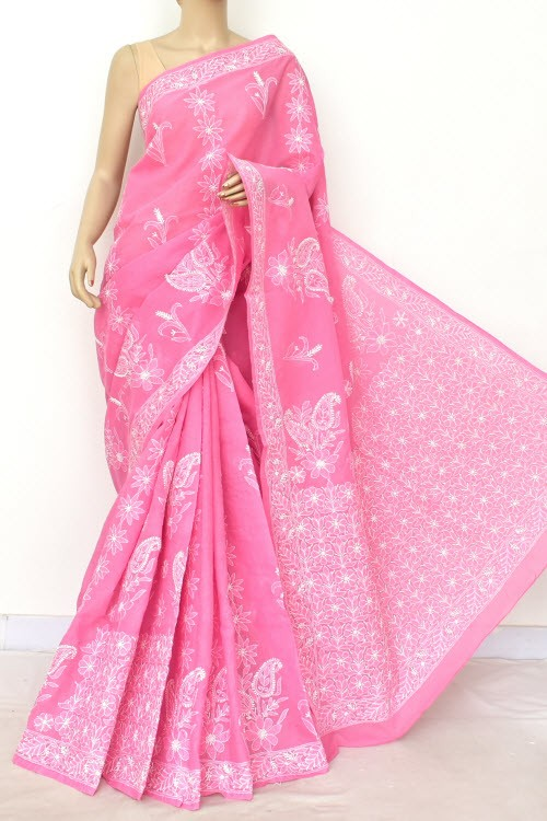 Onion Designer Hand Embroidered Lucknowi Chikankari Saree (With Blouse - Cotton) Rich Border and Pallu 14796