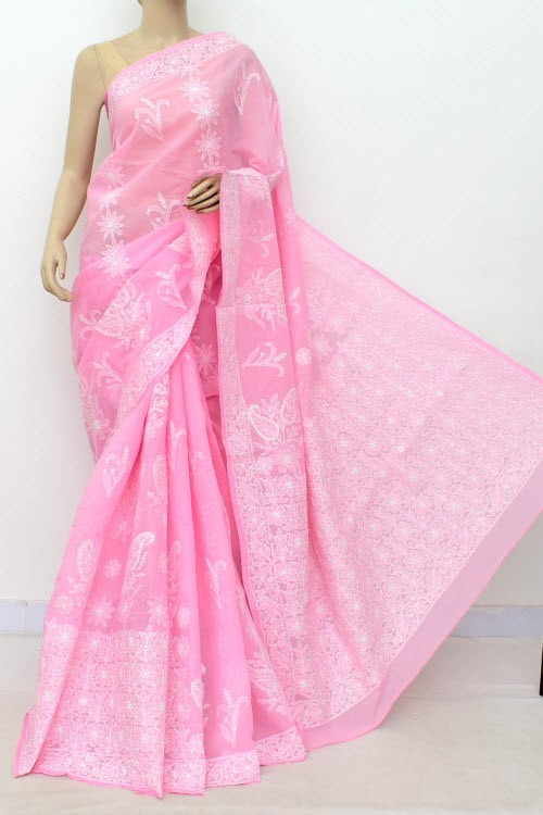 Pink Hand Embroidered Lucknowi Chikankari Saree (With Blouse - Cotton)  Heavy Skirt Border and Rich Pallu 14798