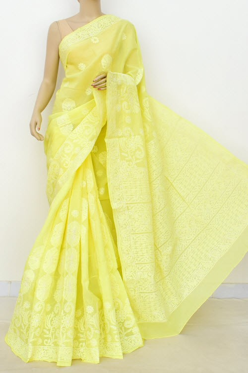 Lemon Yellow Hand Embroidered Designer Lucknowi Chikankari Saree (With Blouse - Cotton)  Heavy Skirt Border and Rich Pallu 14799