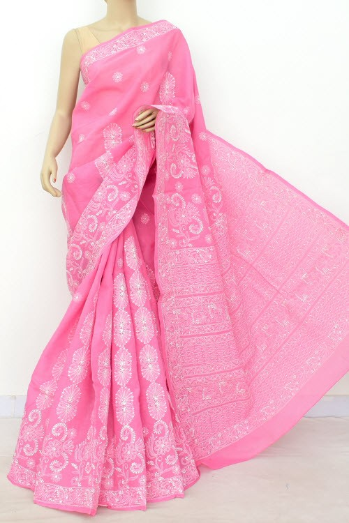 Onion Hand Embroidered Designer Lucknowi Chikankari Saree (With Blouse - Cotton)  Heavy Skirt Border and Rich Pallu 14800