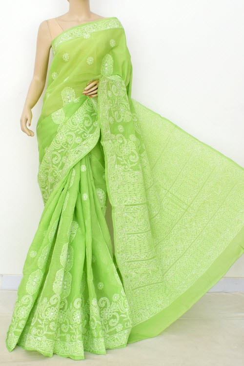 Pista Green Hand Embroidered Designer Lucknowi Chikankari Saree (With Blouse - Cotton)  Heavy Skirt Border and Rich Pallu 14801