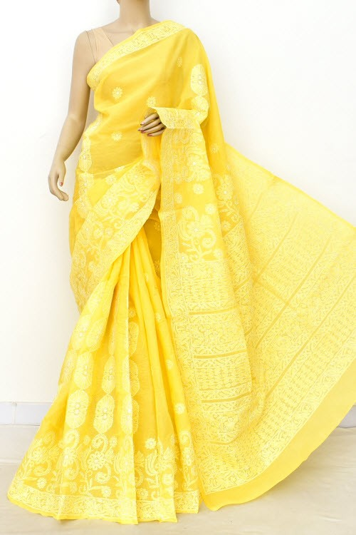 Golden Yellow Hand Embroidered Lucknowi Chikankari Saree (With Blouse - Cotton) Rich Border and Pallu 14802