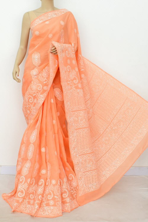Peach Hand Embroidered Designer Lucknowi Chikankari Saree (With Blouse - Cotton)  Heavy Skirt Border and Rich Pallu 14803