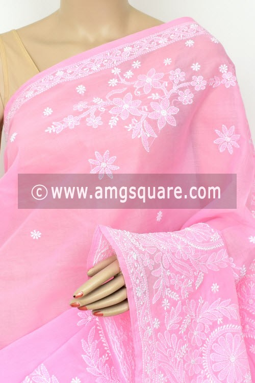Pink Exclusive Hand Embroidered Lucknowi Chikankari Saree (With Blouse - Cotton) 14804