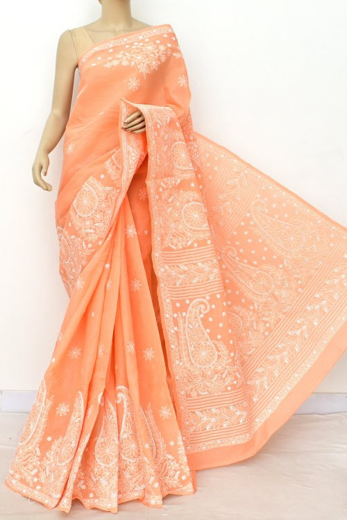 Peach Designer Hand Embroidered Lucknowi Chikankari Saree (With Blouse - Cotton) Rich Border and Pallu 14806