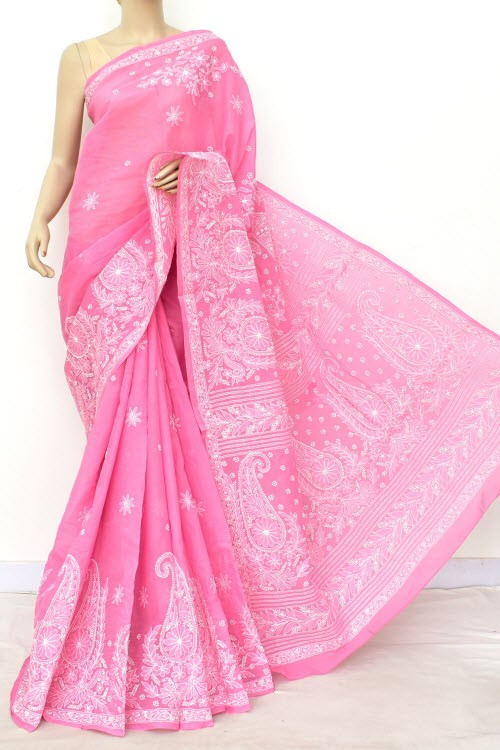Onion Designer Hand Embroidered Lucknowi Chikankari Saree (With Blouse - Cotton) Rich Border and Pallu 14807