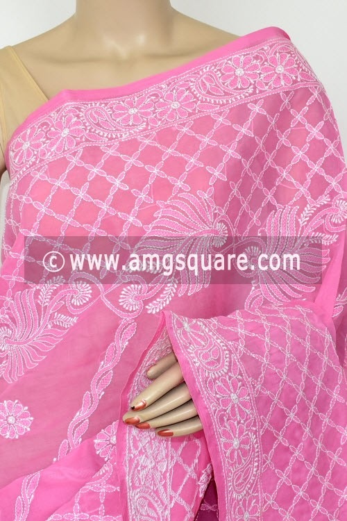 Onion Hand Embroidered Lucknowi Chikankari Saree (With Blouse - Cotton) Heavy Border & Pallu 14809