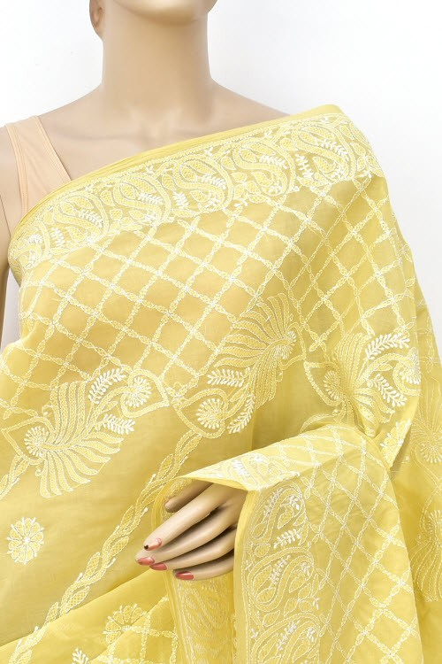 Ochre Yellow Designer Hand Embroidered Lucknowi Chikankari Saree (With Blouse - Cotton) Rich Border and Pallu 14810