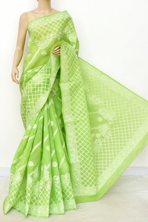 Menhdi Green Designer Hand Embroidered Lucknowi Chikankari Saree (With Blouse - Cotton) Rich Border and Pallu 14811