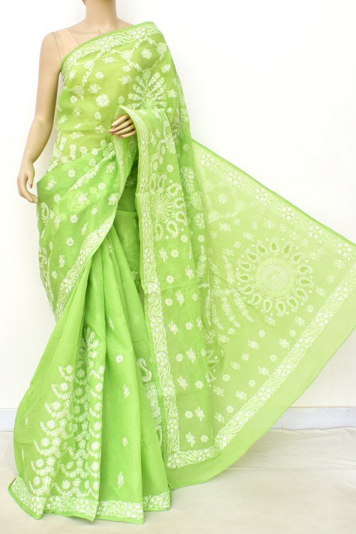 Pista Green Designer Hand Embroidered Lucknowi Chikankari Saree (With Blouse - Cotton) Rich Border and Pallu 14813