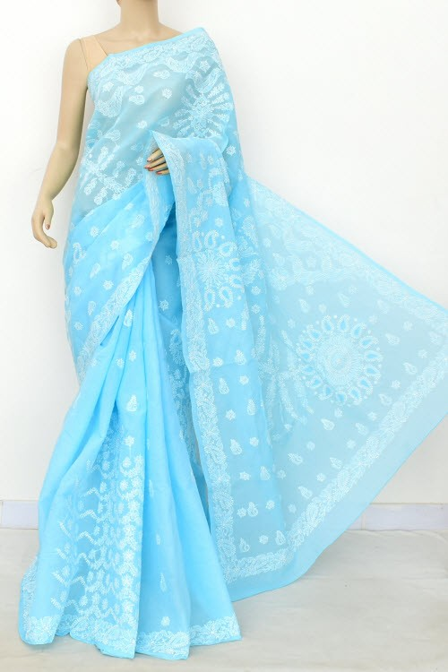 Sky Blue Exclusive Hand Embroidered Lucknowi Chikankari Saree (With Blouse - Cotton) 14815