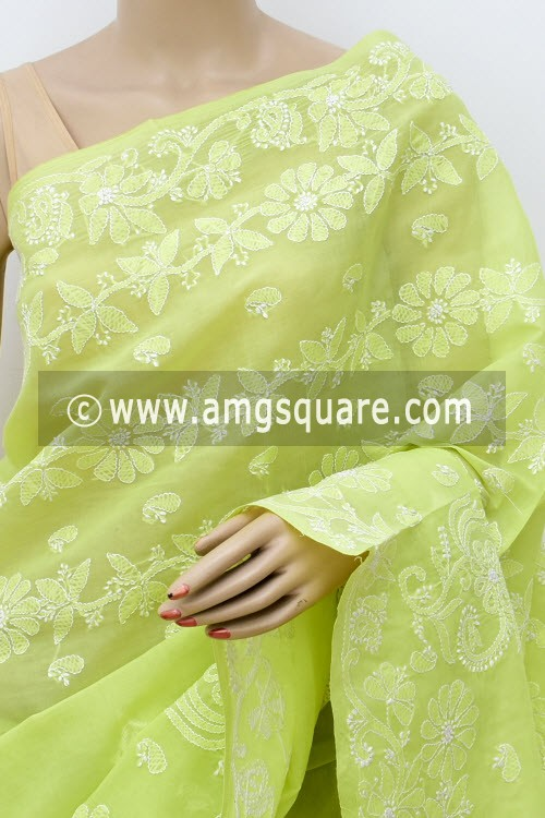 Light Menhdi Green Designer Hand Embroidered Lucknowi Chikankari Saree (With Blouse - Cotton) 14818