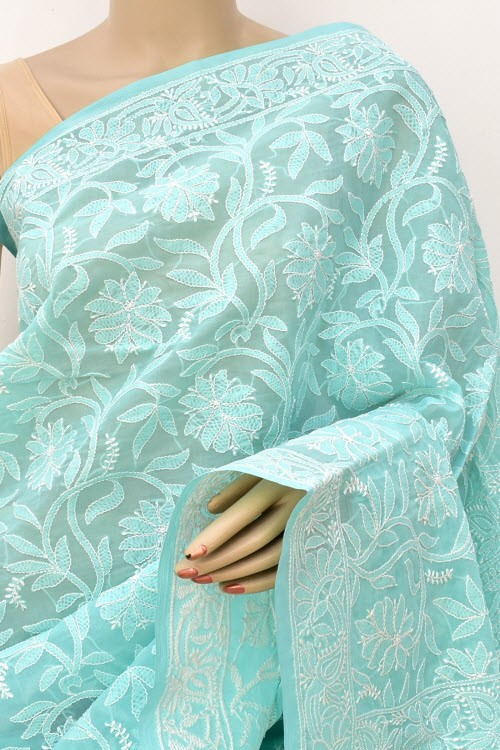 Sea Green Allover Hand Embroidered Lucknowi Chikankari Saree (With Blouse - Cotton) 14847