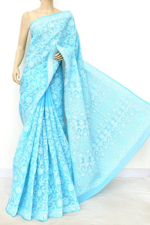 Pherozi Blue Allover Hand Embroidered Lucknowi Chikankari Saree (With Blouse - Cotton) 14851