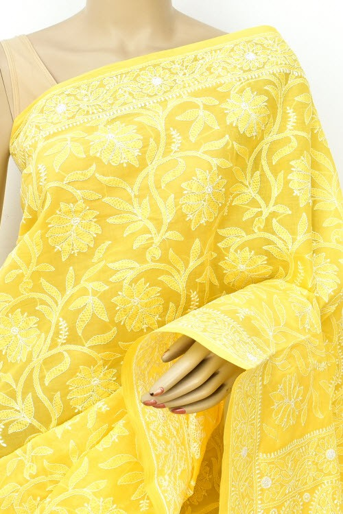 Yellow Allover Hand Embroidered Lucknowi Chikankari Saree (With Blouse - Cotton) 14853