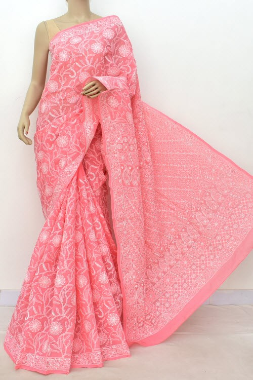 Peach Allover Hand Embroidered Lucknowi Chikankari Saree (With Blouse - Cotton) 14854