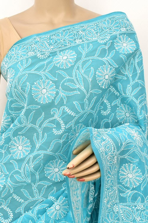 Sea Green Allover Hand Embroidered Lucknowi Chikankari Saree (With Blouse - Cotton) 14855