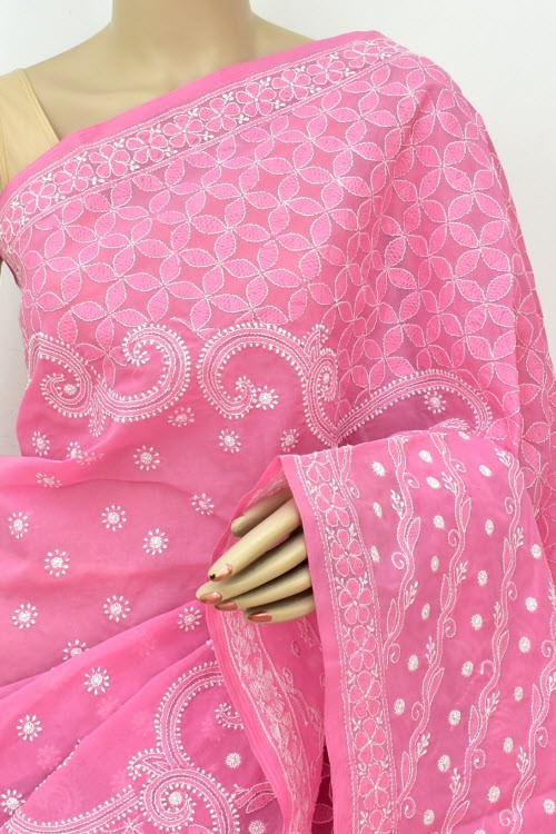 Onion Allover Hand Embroidered Lucknowi Chikankari Saree (With Blouse - Cotton) Full Jaal 14864