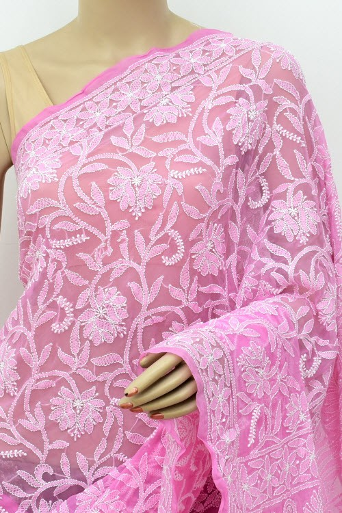 Onion Allover Hand Embroidered Lucknowi Chikankari Saree (With Blouse - Georgette) 14868