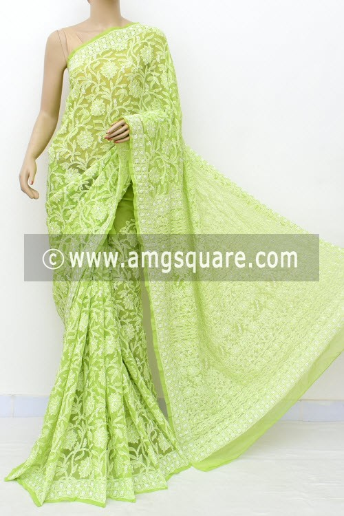 Menhdi Green Allover Hand Embroidered Lucknowi Chikankari Saree (With Blouse - Georgette) 14870