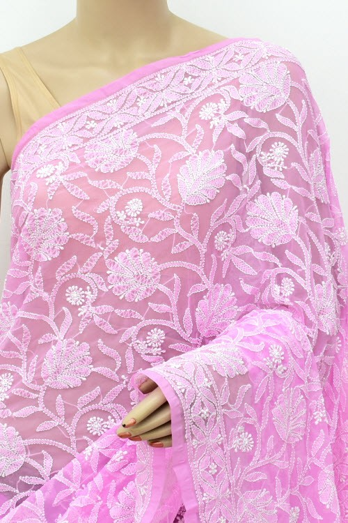 Pink Allover Hand Embroidered Lucknowi Chikankari Saree (With Blouse - Georgette) 14871