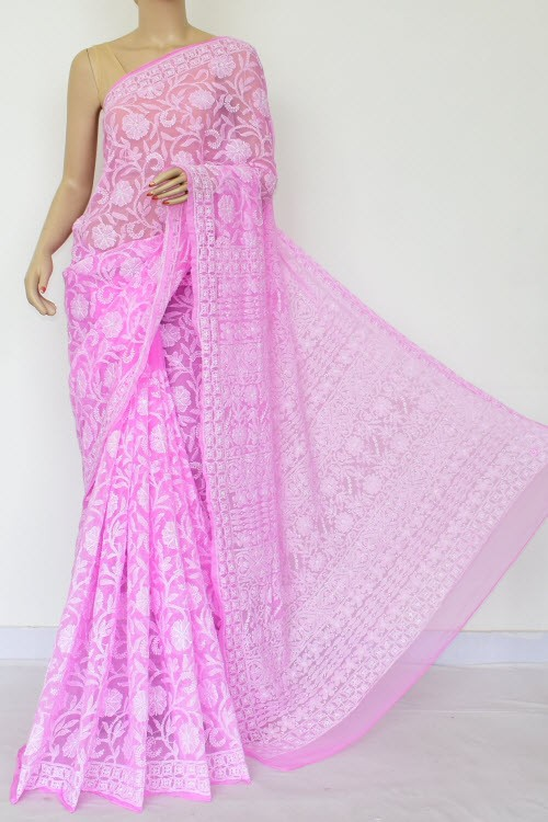Pink Allover Hand Embroidered Lucknowi Chikankari Saree (With Blouse - Georgette) 14873